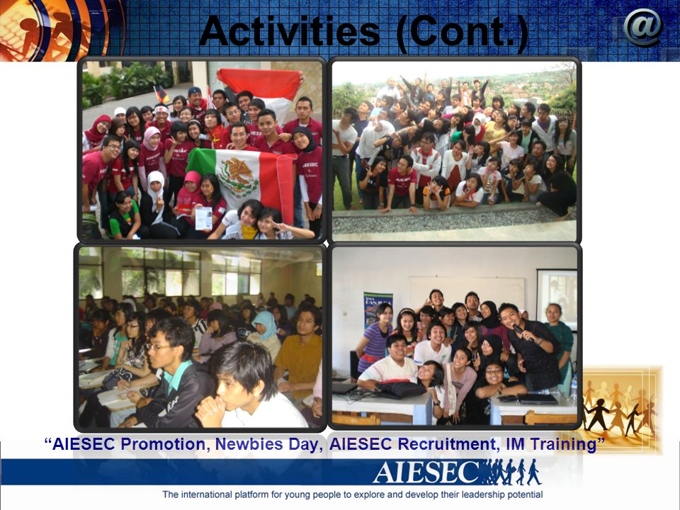 Activities (Cont.) AIESEC Promotion, Newbies Day, AIESEC Recruitment, IM Training