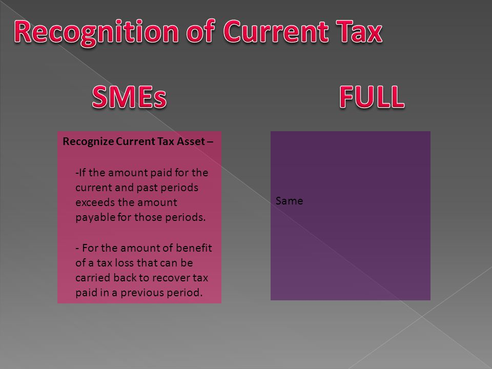 Same Except that: If the manner in which an entity recovers or settles the carrying amount of an asset or liability may affect either or both of: a) tax rate applicable when entity recovers or settles the CA of the asset and b) the tax base of the asset – entity will then measure deferred tax assets and liabilities using the tax rate and tax base that are consistent with the expected manner of recovery or settlement.