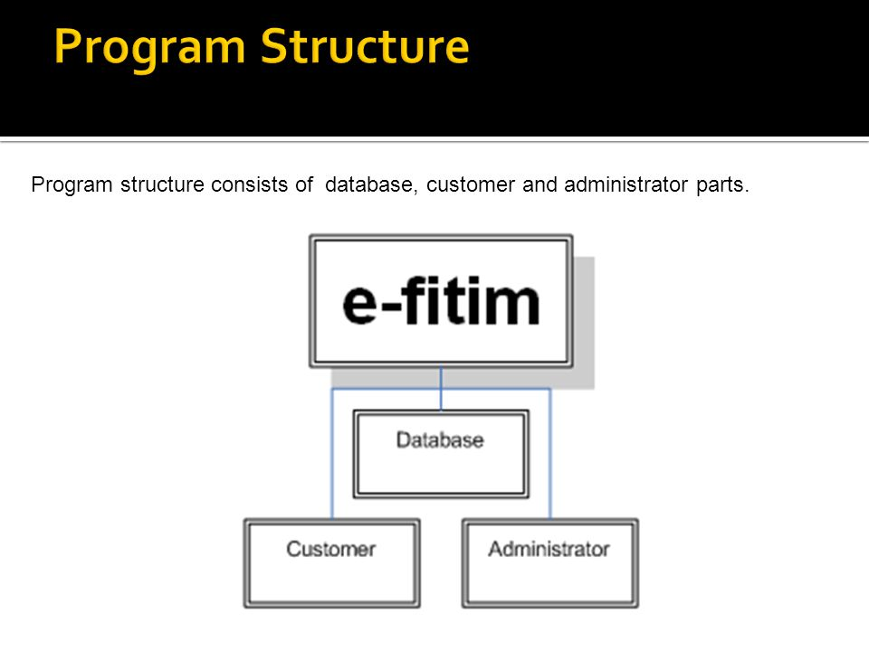 Program structure consists of database, customer and administrator parts.