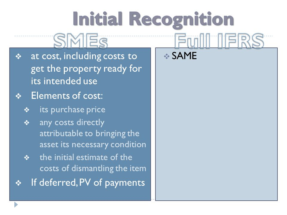  at cost, including costs to get the property ready for its intended use  Elements of cost:  its purchase price  any costs directly attributable to bringing the asset its necessary condition  the initial estimate of the costs of dismantling the item  If deferred, PV of payments  SAME