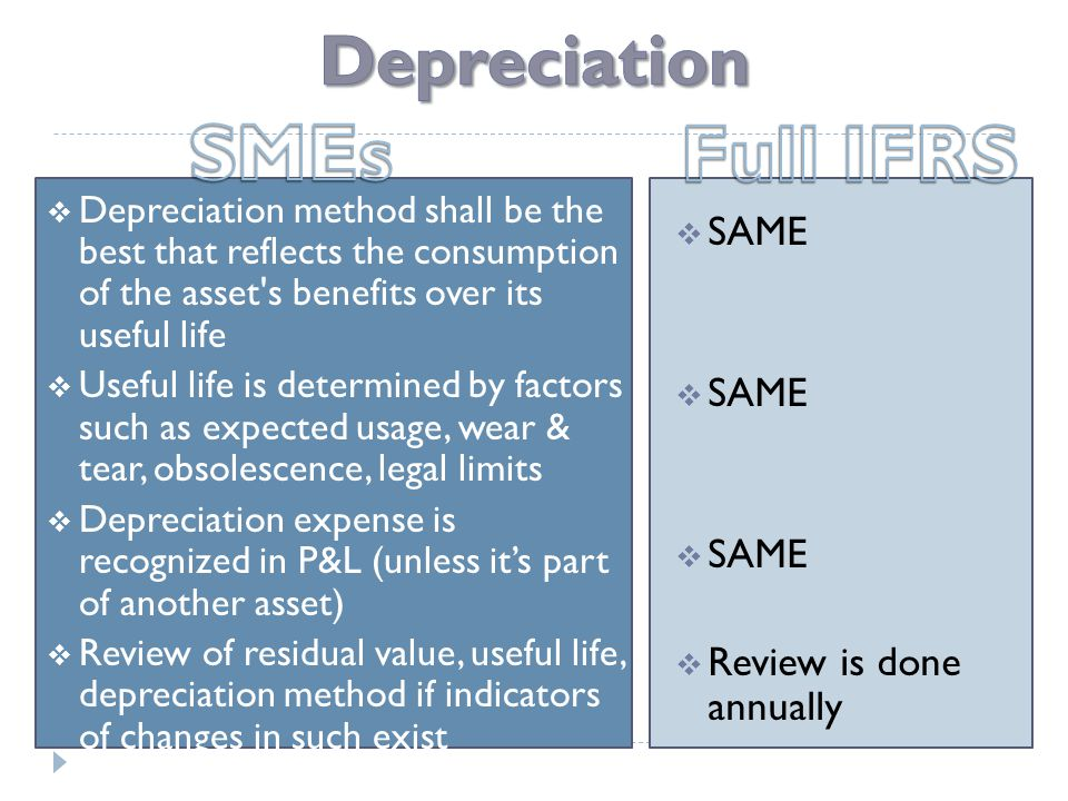  Depreciation method shall be the best that reflects the consumption of the asset s benefits over its useful life  Useful life is determined by factors such as expected usage, wear & tear, obsolescence, legal limits  Depreciation expense is recognized in P&L (unless it's part of another asset)  Review of residual value, useful life, depreciation method if indicators of changes in such exist  SAME  Review is done annually