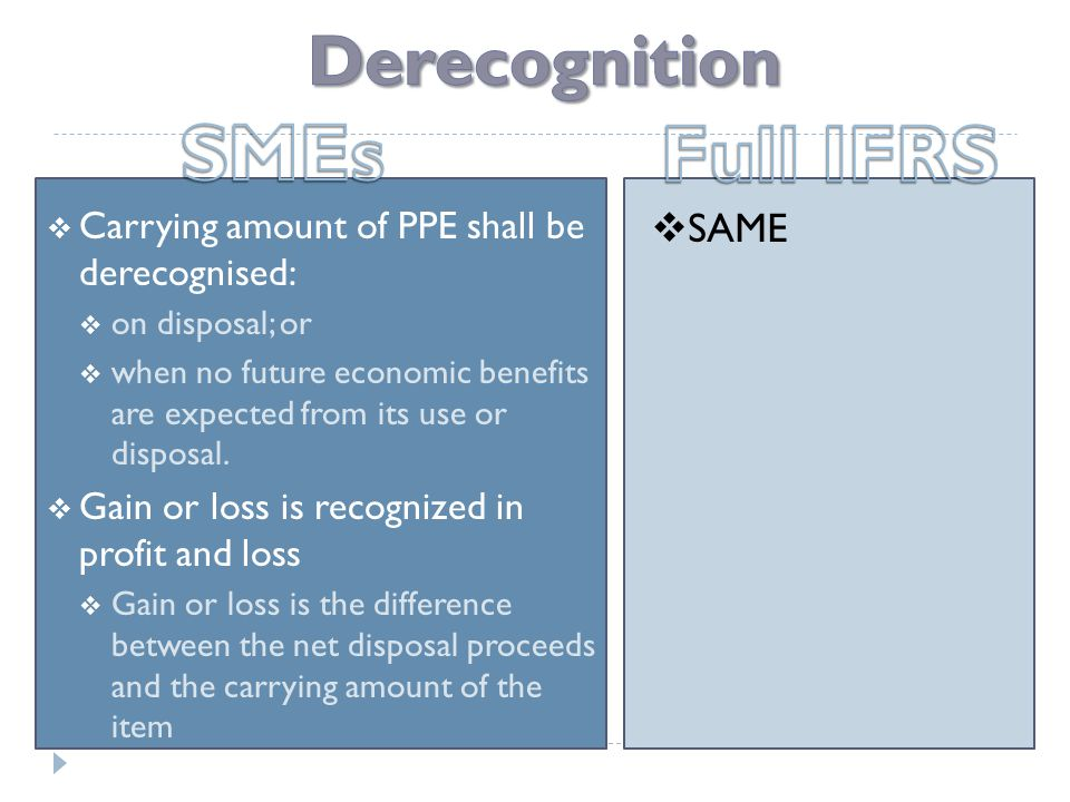  Carrying amount of PPE shall be derecognised:  on disposal; or  when no future economic benefits are expected from its use or disposal.