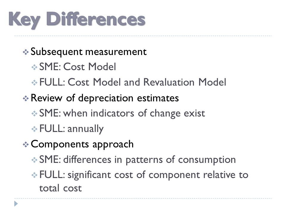  Subsequent measurement  SME: Cost Model  FULL: Cost Model and Revaluation Model  Review of depreciation estimates  SME: when indicators of chang