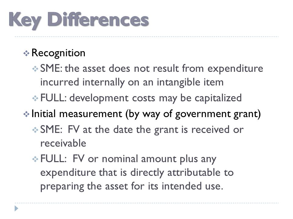  Recognition  SME: the asset does not result from expenditure incurred internally on an intangible item  FULL: development costs may be capitalized