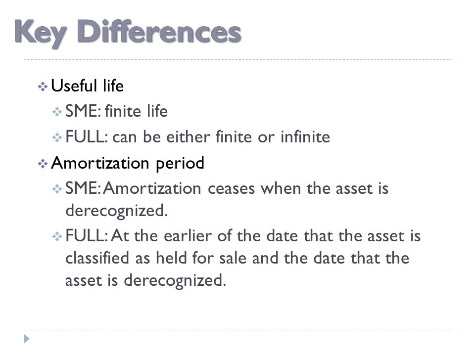  Useful life  SME: finite life  FULL: can be either finite or infinite  Amortization period  SME: Amortization ceases when the asset is derecogni