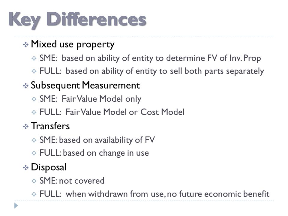  Mixed use property  SME: based on ability of entity to determine FV of Inv. Prop  FULL: based on ability of entity to sell both parts separately 