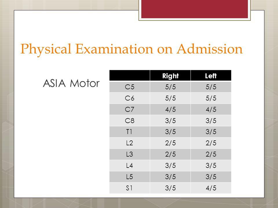 ASIA Motor RightLeft C55/5 C65/5 C74/5 C83/5 T13/5 L22/5 L32/5 L43/5 L53/5 S13/54/5 Physical Examination on Admission
