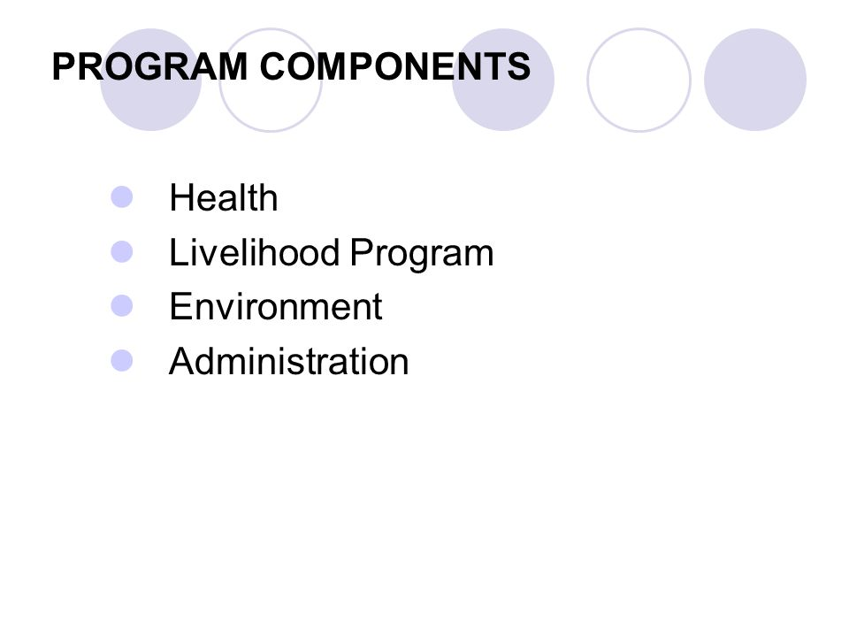 PROGRAM COMPONENTS Health Livelihood Program Environment Administration