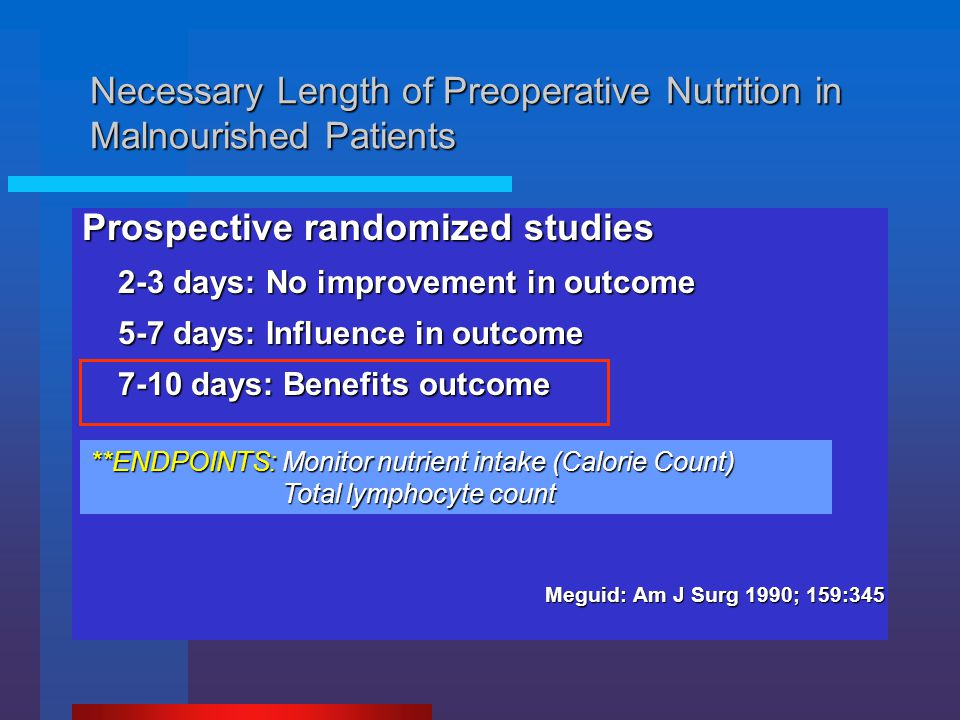 Prospective randomized studies 2-3 days: No improvement in outcome 5-7 days: Influence in outcome 7-10 days: Benefits outcome Reduction of postop morb