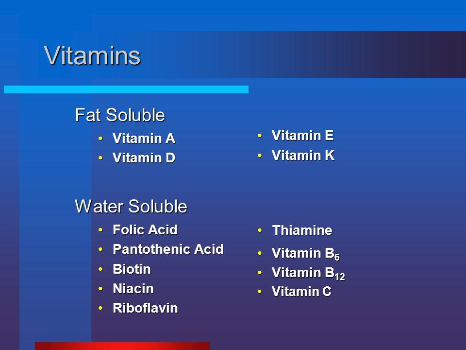 Vitamins Fat Soluble Vitamin AVitamin A Vitamin DVitamin D Water Soluble Folic AcidFolic Acid Pantothenic AcidPantothenic Acid BiotinBiotin NiacinNiac