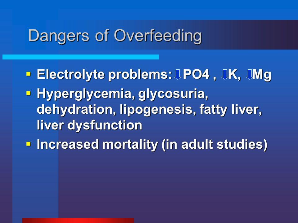 Dangers of Overfeeding  Electrolyte problems: PO4, K, Mg  Hyperglycemia, glycosuria, dehydration, lipogenesis, fatty liver, liver dysfunction  Incr