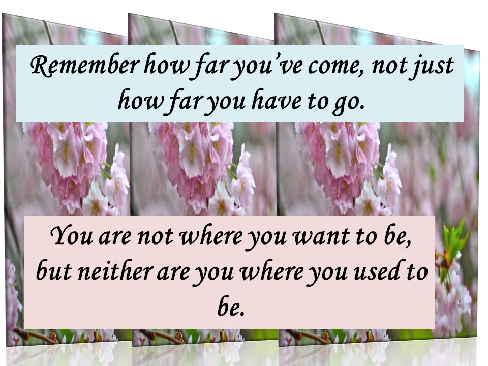 Remember how far you've come, not just how far you have to go.