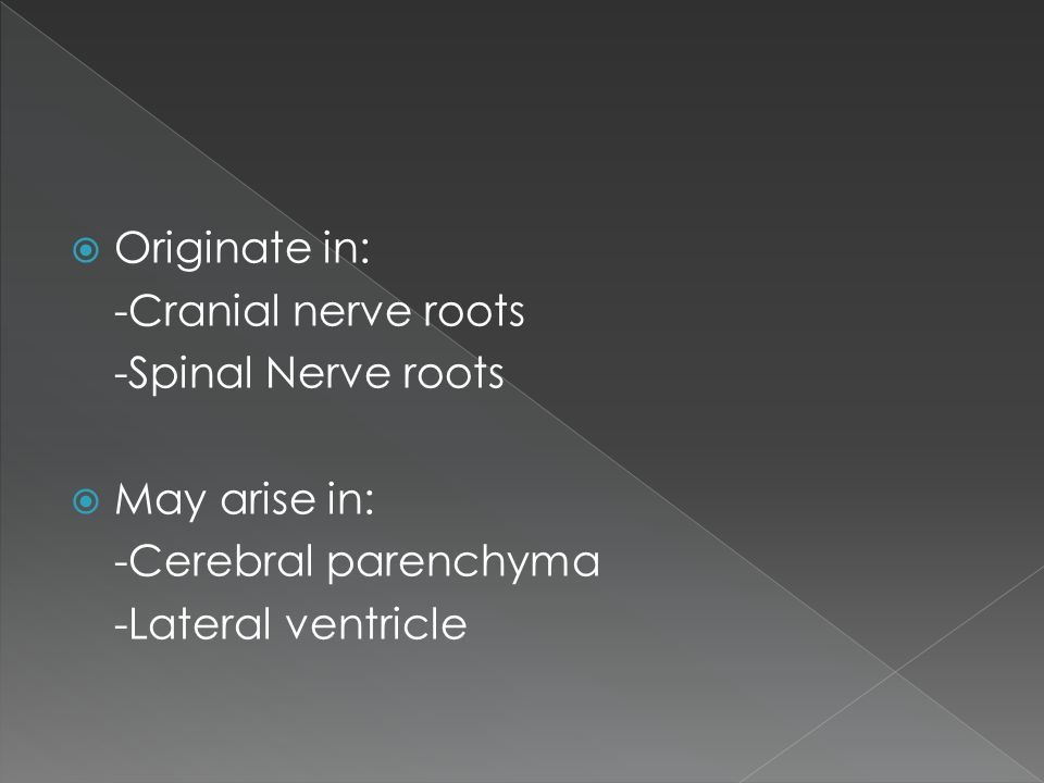  Originate in: -Cranial nerve roots -Spinal Nerve roots  May arise in: -Cerebral parenchyma -Lateral ventricle