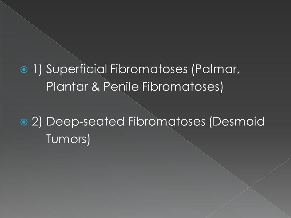  1) Superficial Fibromatoses (Palmar, Plantar & Penile Fibromatoses)  2) Deep-seated Fibromatoses (Desmoid Tumors)