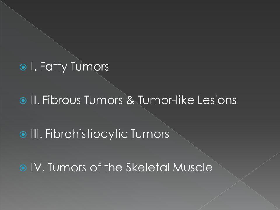  I.Fatty Tumors  II. Fibrous Tumors & Tumor-like Lesions  III.