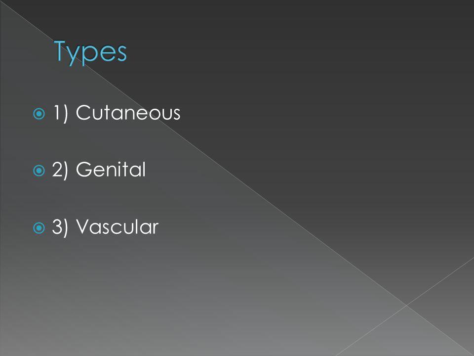  1) Cutaneous  2) Genital  3) Vascular