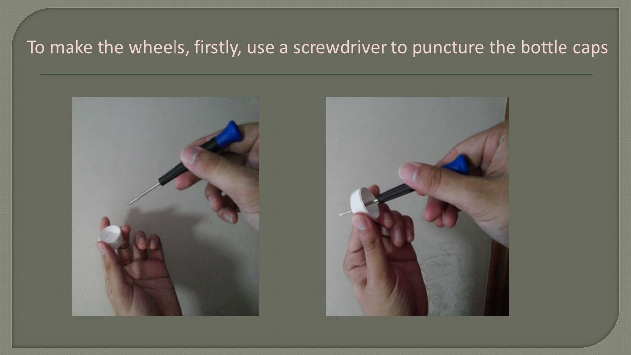 Use a scissors to cut the straw, shorter than the width of the car body