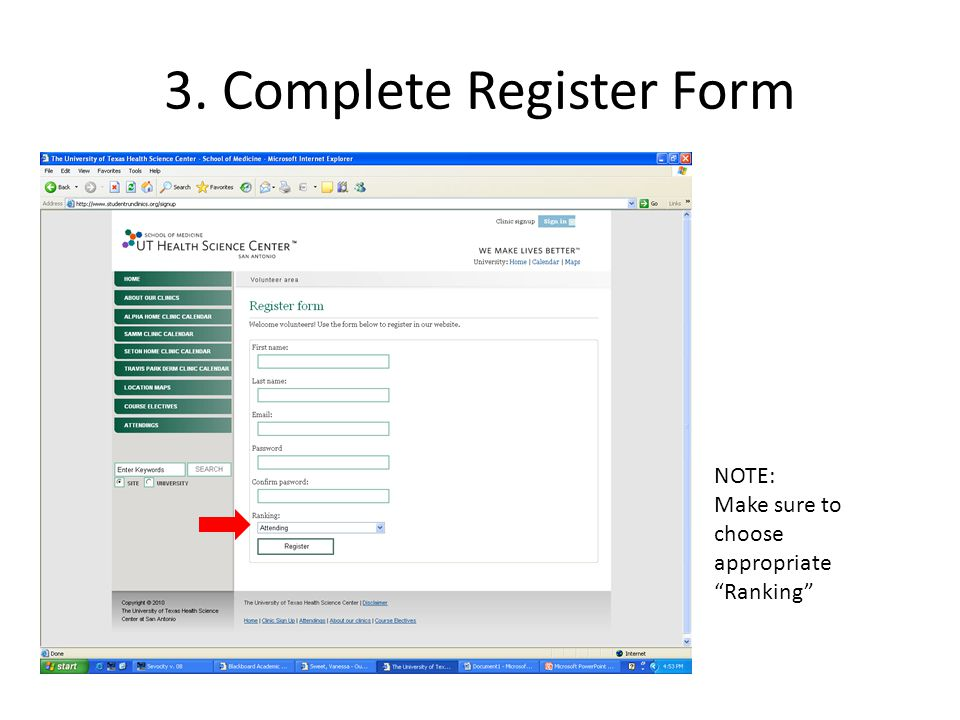 "3. Complete Register Form NOTE: Make sure to choose appropriate ""Ranking"""