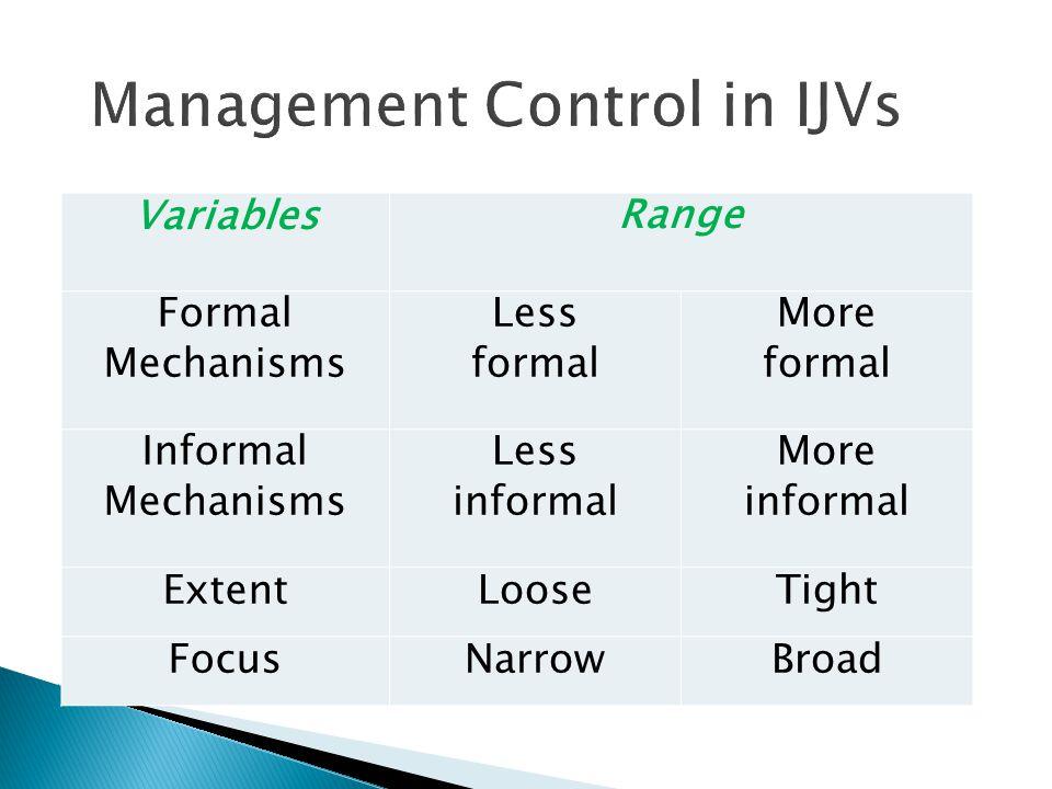 VariablesRange Formal Mechanisms Less formal More formal Informal Mechanisms Less informal More informal ExtentLooseTight FocusNarrowBroad