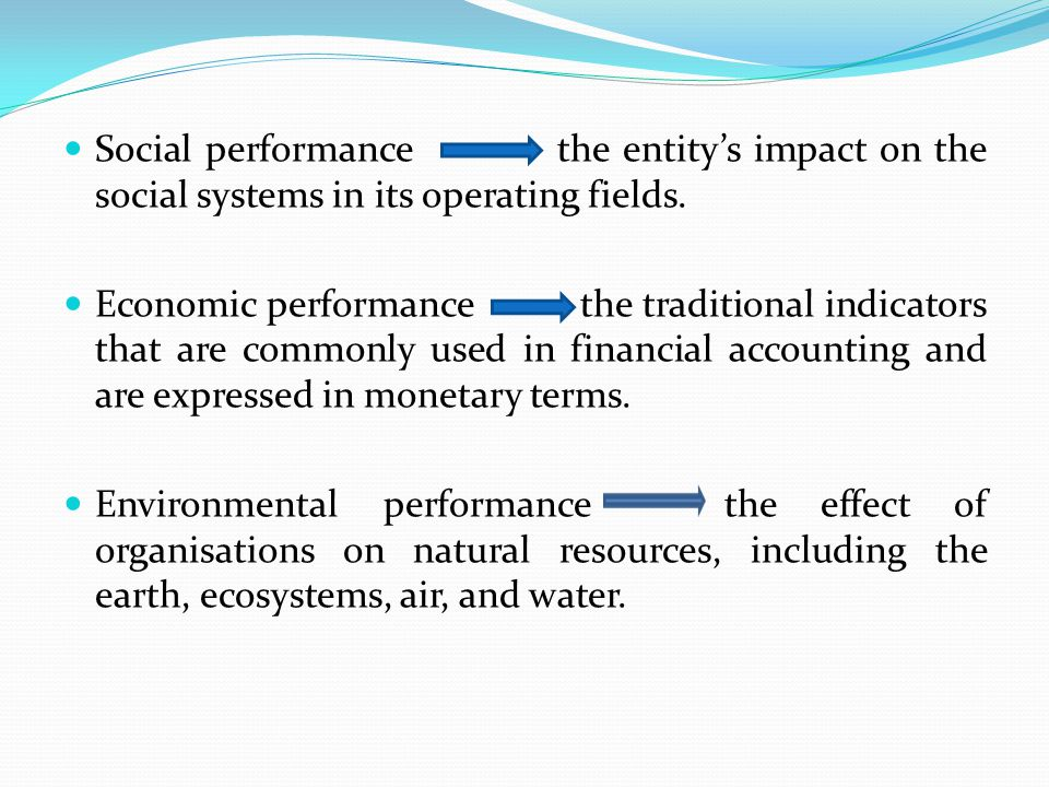 Social performance the entity's impact on the social systems in its operating fields. Economic performance the traditional indicators that are commonl