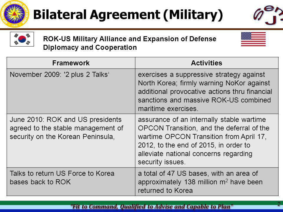 Fit to Command, Qualified to Advise and Capable to Plan Fit to Command, Qualified to Advise and Capable to Plan Fit to Command, Qualified to Advise and Capable to Plan Fit to Command, Qualified to Advise and Capable to Plan Bilateral Agreement (Military) 2 ROK-US Military Alliance and Expansion of Defense Diplomacy and Cooperation FrameworkActivities November 2009: 2 plus 2 Talks'exercises a suppressive strategy against North Korea; firmly warning NoKor against additional provocative actions thru financial sanctions and massive ROK-US combined maritime exercises.