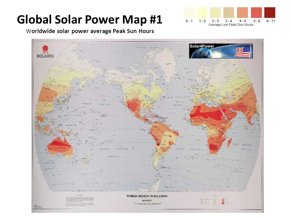 Global Solar Power Map #1 Worldwide solar power average Peak Sun Hours