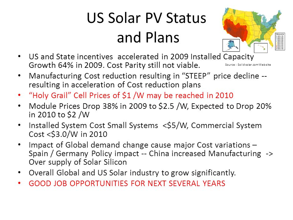 US Solar PV Status and Plans US and State incentives accelerated in 2009 Installed Capacity Growth 64% in 2009.
