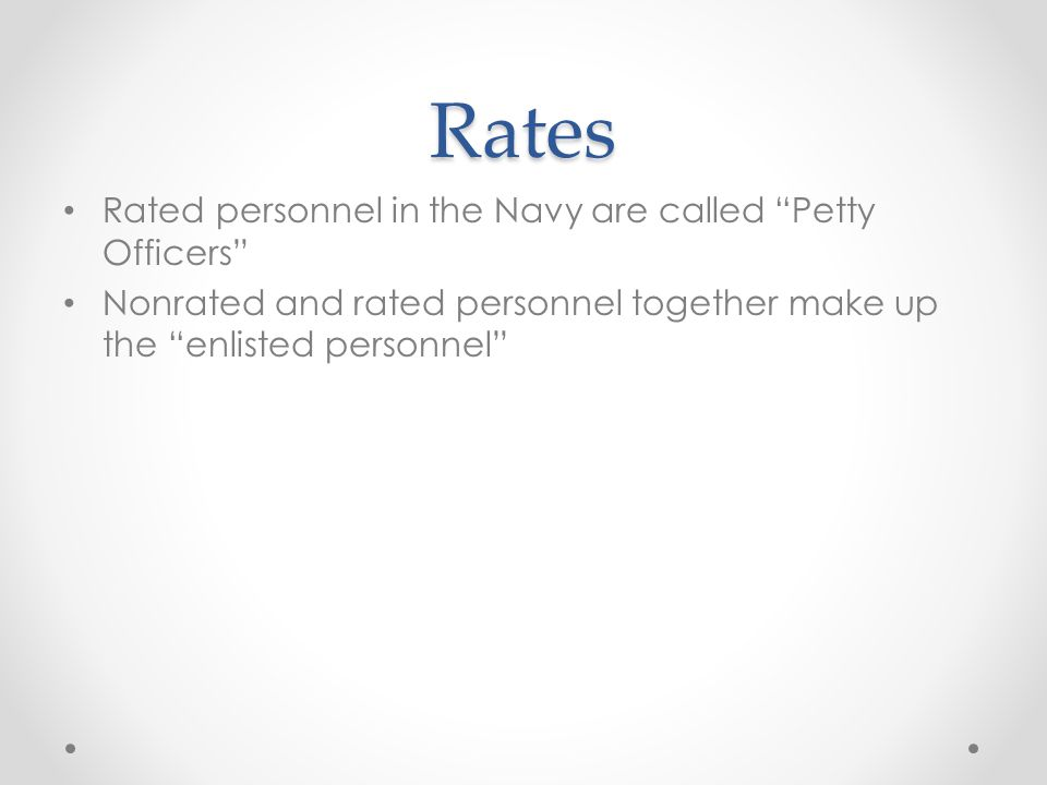 Rating A rating is an occupational specialty in the Navy.
