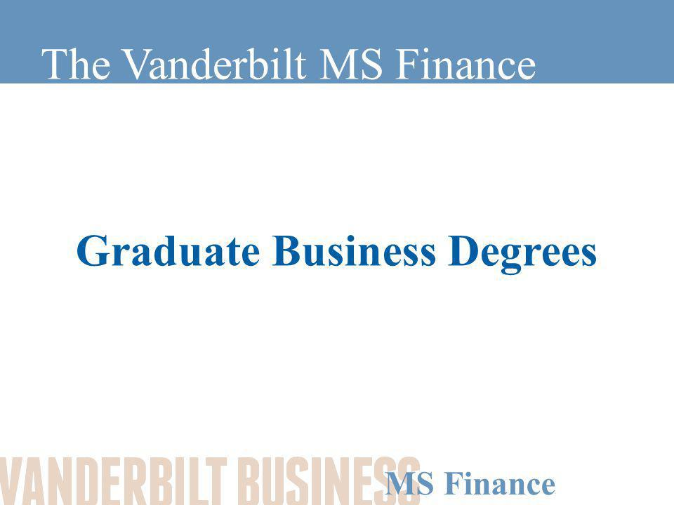 MS Finance Graduate Business Degrees MBA –Established and well known.