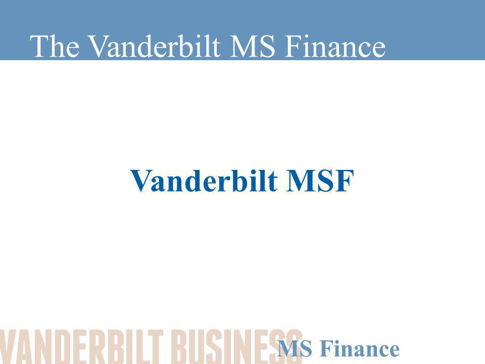 MS Finance Goals of the MSF Develop a strong finance backbone in one year Gain practical finance and business skills, such as: –Portfolio theory –Derivative pricing –Asset pricing –Firm valuation –Risk management Work side-by-side with experienced MBA students from a variety of backgrounds and learn from their experiences Expand your career opportunities in a competitive field