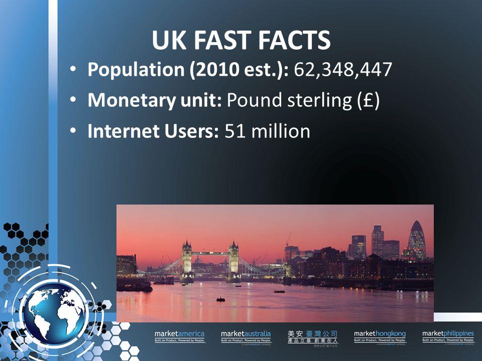 UK FAST FACTS Population (2010 est.): 62,348,447 Monetary unit: Pound sterling (£) Internet Users: 51 million