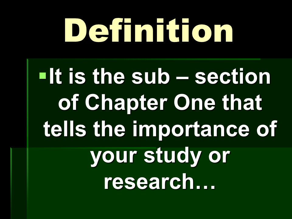 Significance of the Study