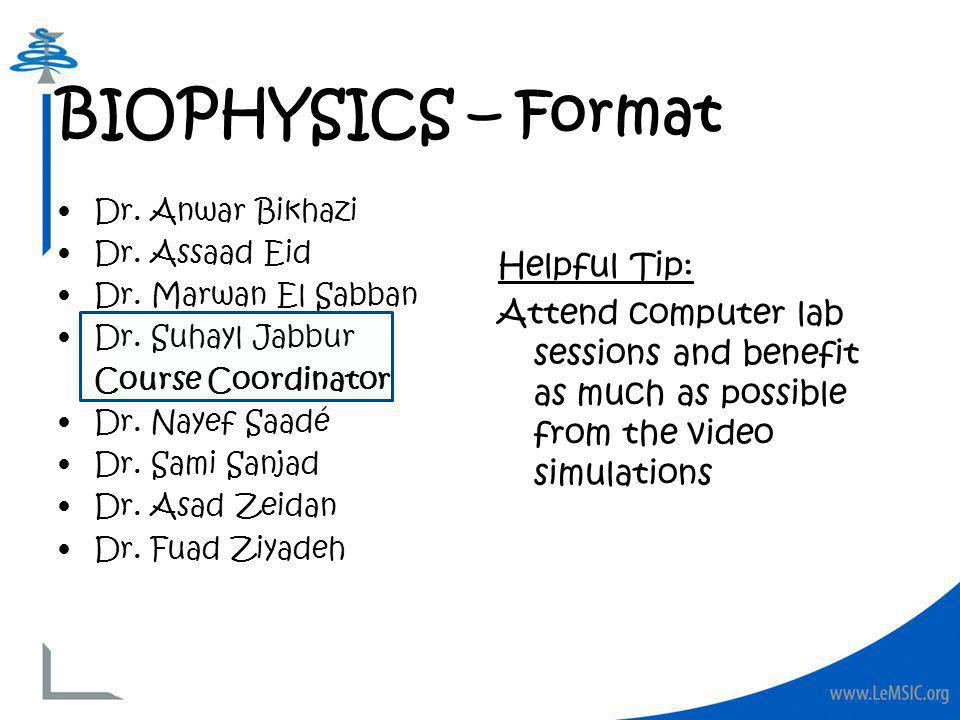 Dr. Anwar Bikhazi Dr. Assaad Eid Dr. Marwan El Sabban Dr.