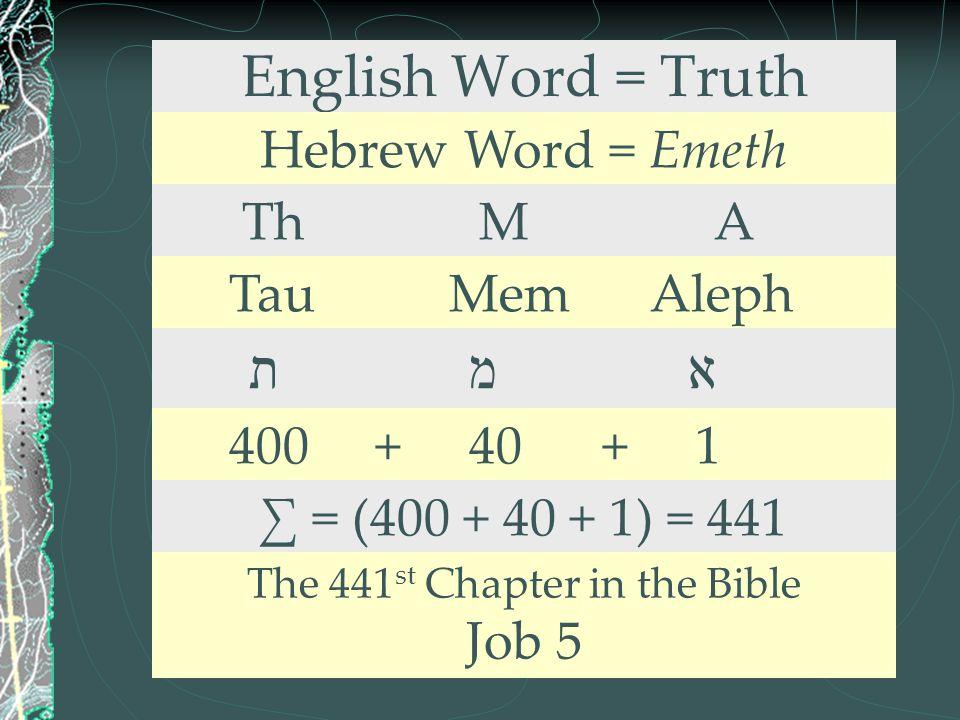 English Word = Truth Hebrew Word = Emeth Th M A Tau Mem Aleph ת מ א 400 + 40 + 1 ∑ = (400 + 40 + 1) = 441 The 441 st Chapter in the Bible Job 5