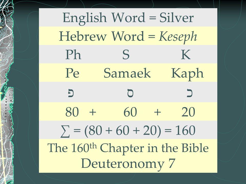 English Word = Silver Hebrew Word = Keseph Ph S K Pe Samaek Kaph פ ס כ 80 + 60 + 20 ∑ = (80 + 60 + 20) = 160 The 160 th Chapter in the Bible Deuterono