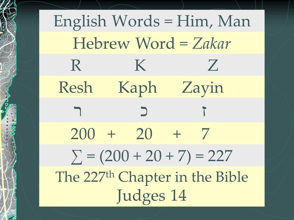 English Words = Him, Man Hebrew Word = Zakar R K Z Resh Kaph Zayin ר כ ז 200 + 20 + 7 ∑ = (200 + 20 + 7) = 227 The 227 th Chapter in the Bible Judges