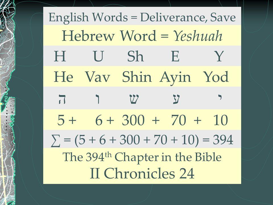 English Words = Deliverance, Save Hebrew Word = Yeshuah H U Sh E Y He Vav Shin Ayin Yod ה ו ש ע י 5 + 6 + 300 + 70 + 10 ∑ = (5 + 6 + 300 + 70 + 10) =