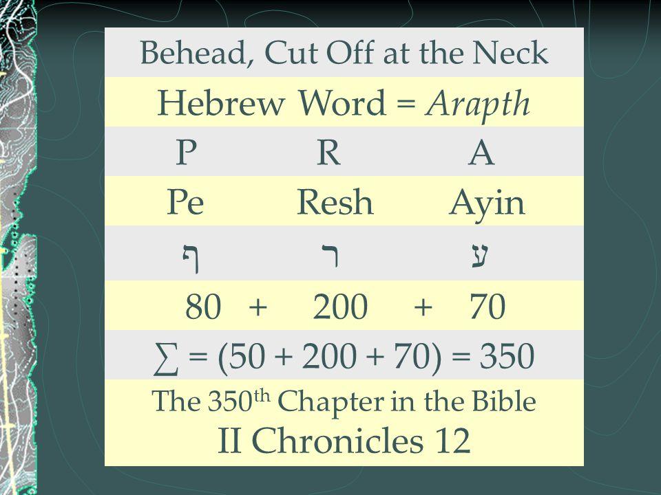Behead, Cut Off at the Neck Hebrew Word = Arapth P R A Pe Resh Ayin ף ר ע 80 + 200 + 70 ∑ = (50 + 200 + 70) = 350 The 350 th Chapter in the Bible II C
