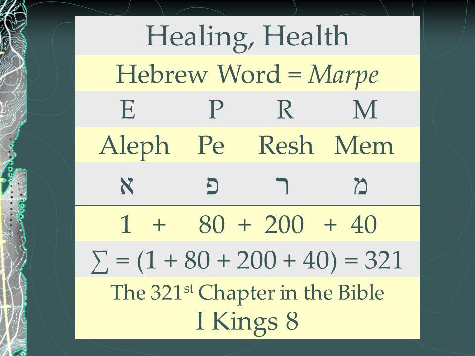 Healing, Health Hebrew Word = Marpe E P R M Aleph Pe Resh Mem א פ ר מ 1 + 80 + 200 + 40 ∑ = (1 + 80 + 200 + 40) = 321 The 321 st Chapter in the Bible