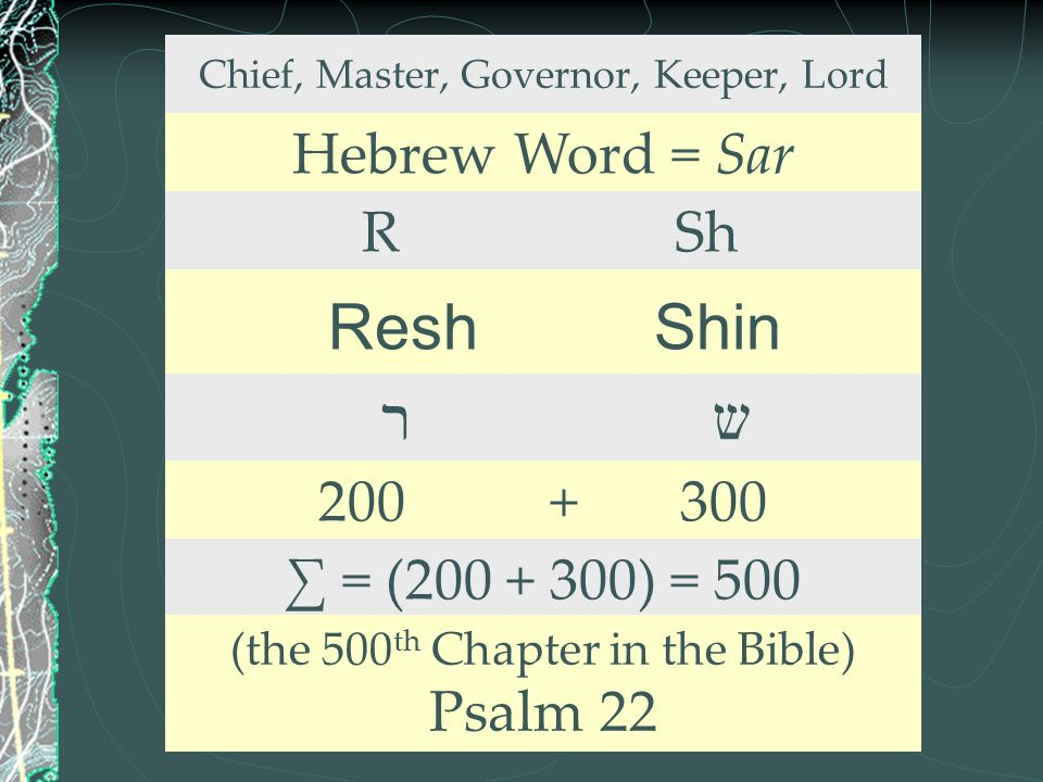 Chief, Master, Governor, Keeper, Lord Hebrew Word = Sar R Sh Resh Shin ר ש 200 + 300 ∑ = (200 + 300) = 500 (the 500 th Chapter in the Bible) Psalm 22