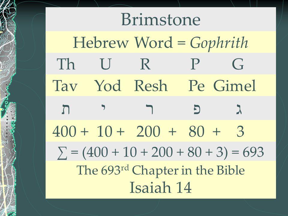 Brimstone Hebrew Word = Gophrith Th U R P G Tav Yod Resh Pe Gimel ת י ר פ ג 400 + 10 + 200 + 80 + 3 ∑ = (400 + 10 + 200 + 80 + 3) = 693 The 693 rd Cha