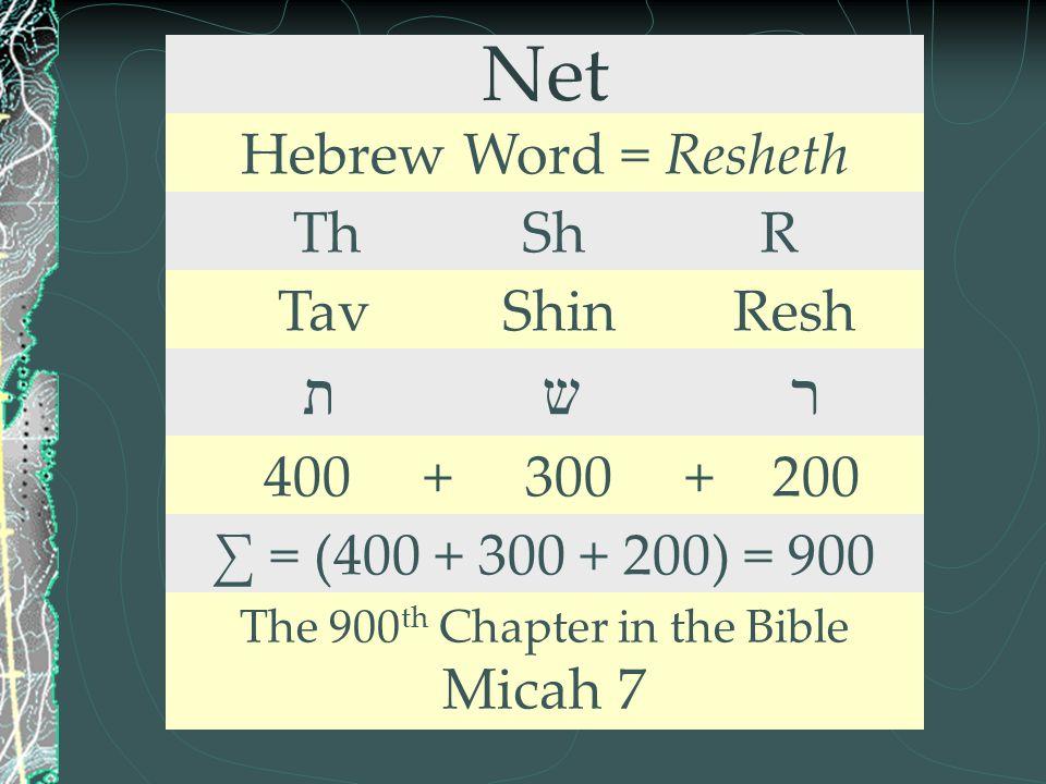 Net Hebrew Word = Resheth Th Sh R Tav Shin Resh ת ש ר 400 + 300 + 200 ∑ = (400 + 300 + 200) = 900 The 900 th Chapter in the Bible Micah 7