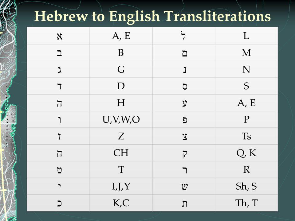 Hebrew to English Transliterations