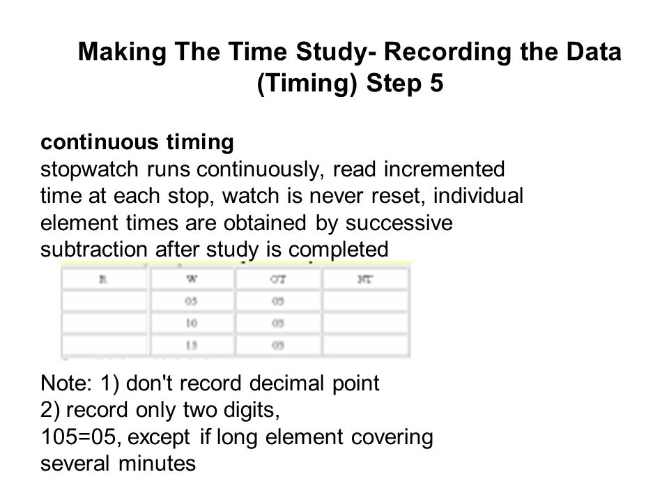 continuous timing stopwatch runs continuously, read incremented time at each stop, watch is never reset, individual element times are obtained by succ