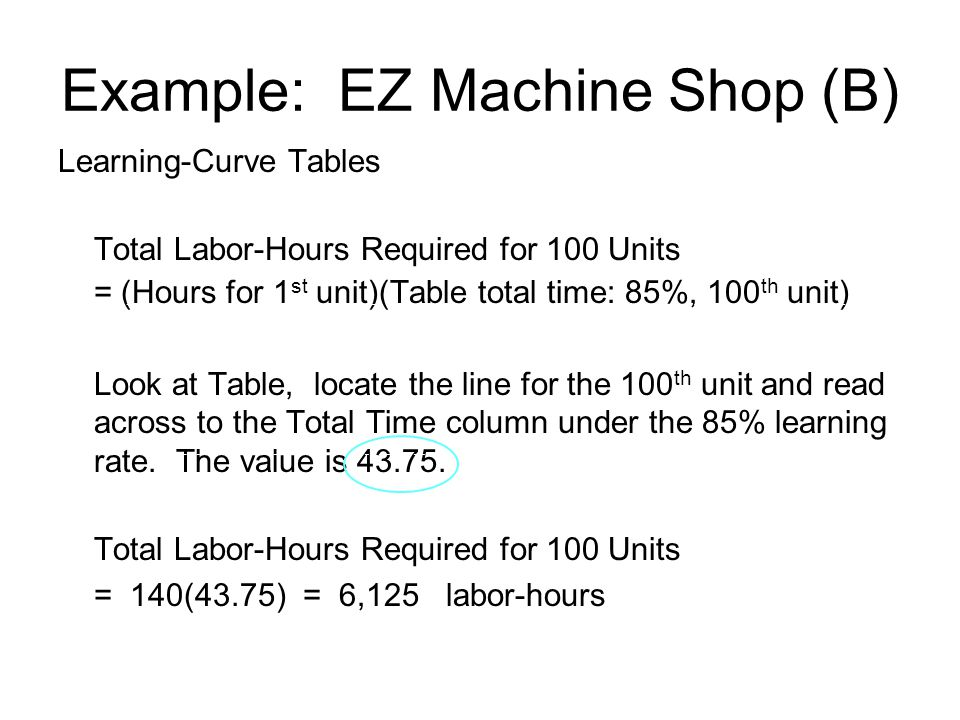 Example: EZ Machine Shop (B) Learning-Curve Tables Total Labor-Hours Required for 100 Units = (Hours for 1 st unit)(Table total time: 85%, 100 th unit