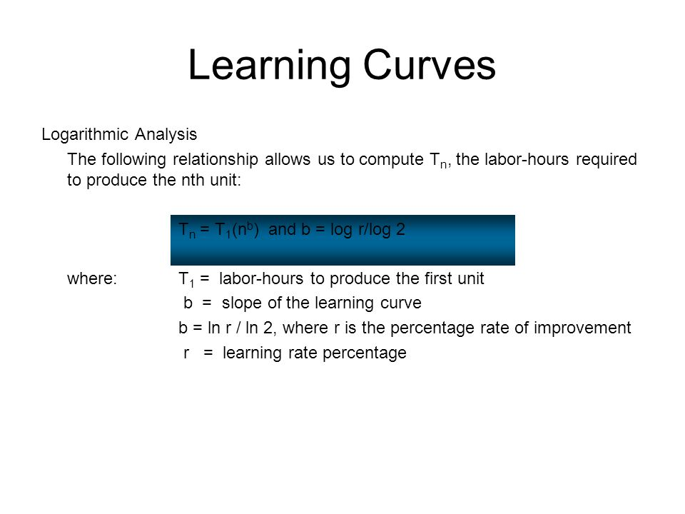 Learning Curves Logarithmic Analysis The following relationship allows us to compute T n, the labor-hours required to produce the nth unit: T n = T 1