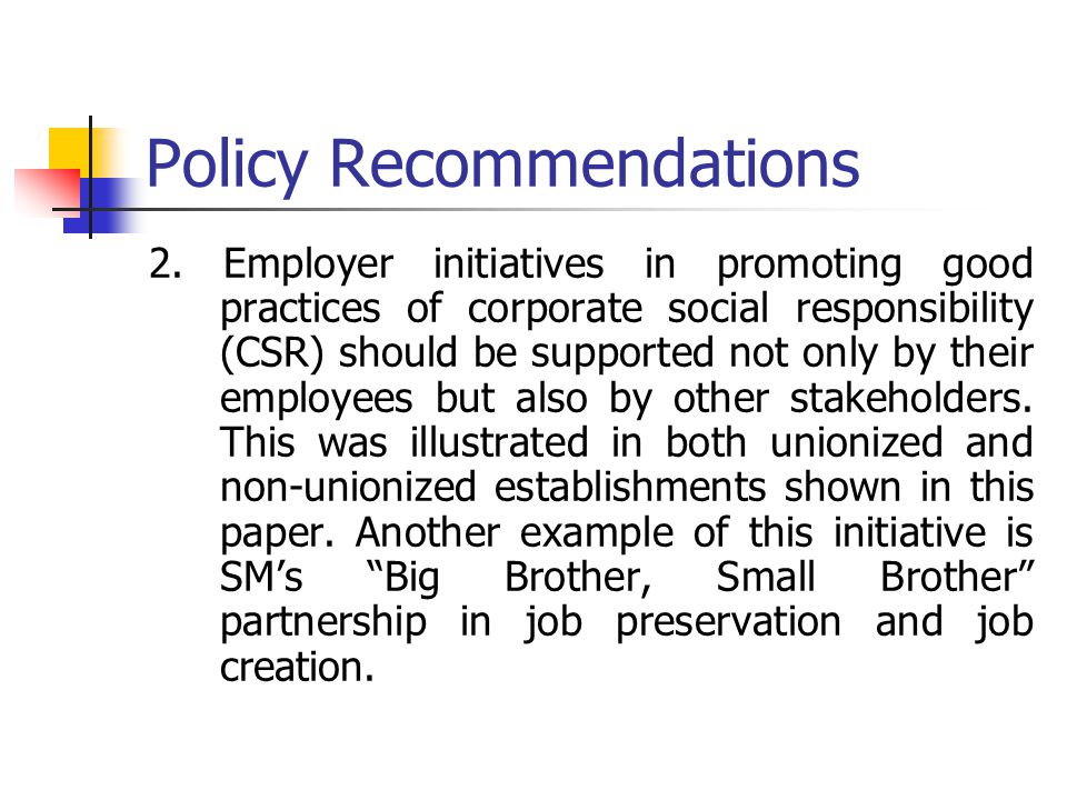Policy Recommendations 2.
