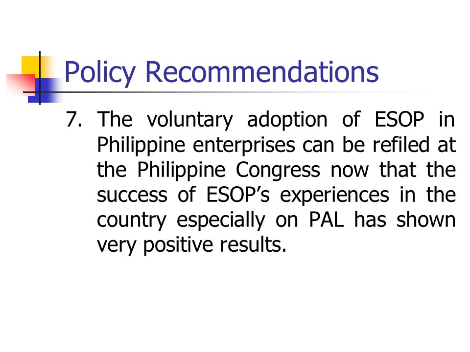 Policy Recommendations 7.