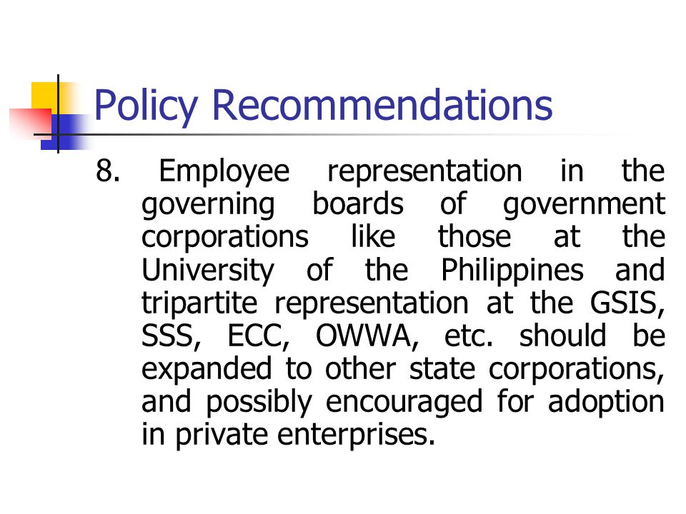 Policy Recommendations 8.