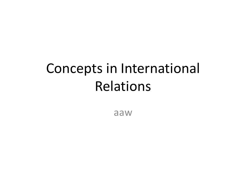 Concepts in International Relations aaw